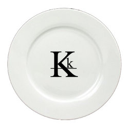 Caroline's Treasures - Letter K Initial Monogram Modern Ceramic White Dinner Plate CJ1056-K-DPW-11 - Letter K Initial Monogram Modern Ceramic White Dinner Plate CJ1056-K-DPW-11 Heavy Round Ceramic Plate White with Artwork . 11 inches in diameter. LEAD FREE, dishwasher and microwave safe. The plate has been refired over 1600 degrees and the artwork will not fade or crack.