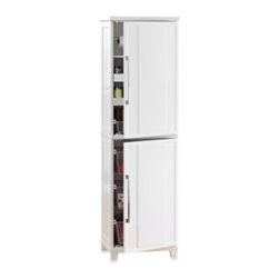 Real Simple - Real Simple White Kitchen Pantry - For kitchens that can use extra storage space and organization, this White Kitchen Pantry by Real Simple is an ideal solution. Store and coordinate many items in the efficiently divided top and bottom cabinet sections.
