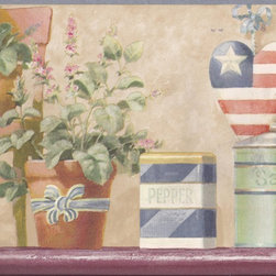 York Wallcoverings - Blue American Flower Pots Wallpaper Border - Wallpaper borders bring color, character and detail to a room with exciting new look for your walls - easier and quicker than ever.