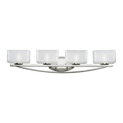 Four Light Chrome Frosted White Inside And Clear Outside Glass Glass Vanity - A set of four vanity lights displayed in square cube glass shades frosted white inside and clear outside, with a chrome finish for a fresh and modern look.