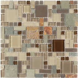 """Euro Glass - Titanium Filed Unique Shapes Brown Backsplash Glossy and Frosted Glass and Slate - Sheet size: 12"""" x 12"""""""
