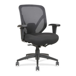 "Lorell - Lorell Self-Tilt Mid-back Chair, Black, 28.1""x22.9""x41.8"" - Mid-back chair features a body weight control mechanism that moves with you. This chair control allows your body weight to recline the chair and return the chair to its task position for easier control. Self-tilt tension adjustment offers five locking positions. Other functions include 360-degree swivel and pneumatic seat-height adjustment from 18-1/4 to 22-1/4. The height-adjustable arms are covered with polyurethane pads for your comfort. Recline easily with the mesh back and seat upholstered with fabric. 27-1/6 diameter spider base is made of nylon and equipped with five 60mm dual-wheel casters for easy chair movement. Weight capacity is 250 lb. Seat measures 19-1/8 wide x 17-1/8 deep. Back dimensions are 19-9/31 wide x 21-6/23 high."