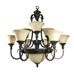 Yosemite Home Decor - Yosemite Home Decor F023A12SB 12 Lights Chandelier with Shade in Sienna Bronze - 12 Lights Chandelier with Shade in Sienna Bronze