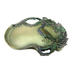TLT - 12 Inch Cold Cast Bronze Finish Art Nouveau Peacock Plate - This gorgeous 12 Inch Cold Cast Bronze Finish Art Nouveau Peacock Plate has the finest details and highest quality you will find anywhere! 12 Inch Cold Cast Bronze Finish Art Nouveau Peacock Plate is truly remarkable.