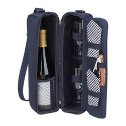 Picnic at Ascot - Sunset Wine Carrier for Two, Navy/Gingham by Picnic at Ascot - Our Sunset Wine Carrier for Two in Navy/Gingham by Picnic at Ascot is a top quality deluxe wine holder with glasses featuring state of the art Thermal Shield insulation to maintain wine at the perfect temperature. The glass compartment can be used to hold a second bottle.