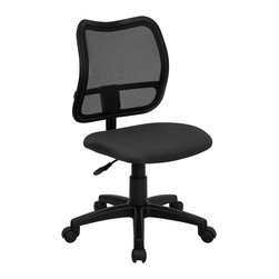 Flash Furniture - Ergonomic Upholstered Task Chair - 3 in. thick fabric upholstered seat. Pneumatic seat height adjustment. Heavy duty nylon base. Heavy duty dual wheel casters. Warranty: 2 year limited. Assembly required. Back: 17.25 in. W x 17.5 in. H. Seat: 18 in. W x 17.25 in. D. Seat Height: 17.5 - 21.5 in.. Overall: 22 in. W x  22 in. D x 34 - 38 in. H  (20 lbs.)
