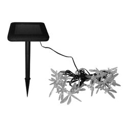 "Smart Solar - Solar Light String - 20PC Set - Dragonfly - Ideal for decorating shrubs, parasols and doorways  . Powered by a separate amorphous solar panel allowing lights to be placed in shady areas . 20 energy-saving multi color LED's with translucent stylized covers . LEDs supplied on 17.25 ft string, 5.5"" spacing with 8.5 ft. lead wire from first light to panel . Automatically illuminate during darkness . Up to 6 hours of light each night when fully charged . Replaceable rechargeable Lithium Ion battery . No wiring, simply install and enjoy . No operating costs . Retail boxes with 'Try Me' button available. Solar panel . Voltage: 4.0V . Current: 70mA . Power: 0.28W . Battery. Voltage: 3.2V . Capacity: 600mAh Li-Ion AA x 1 . 10.63 in. L x 3.15 in. W x 7.28 in. H (1.3 lbs.)In line with our policy of continuous product development Smart Solar reserves the right to change, vary or alter the product specification without prior notification."