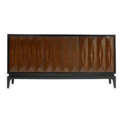 "DwellStudio - DwellStudio Finn Sideboard - The sleek DwellStudio Finn sideboard surprises with Art Deco allure. Accenting three faceted wood doors, the console's black lacquered trim emits contemporary charisma.  72""W x 18""D x 36""H; Rosewood veneer finish on engineered hardwood; 3 adjustable shelves; Comes with optional screw on leg support"