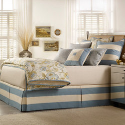 Mystic Home - Cumberland Colony Parquet Ecru King Complete Bed Set - - The Cumberland Complete integrates a Duvet cover, a bed skirt, an 18-in Pillow, a 22-in Pillow, a large boudoir, coverlet, and a sheet set with Shams as follows: King / King 3 (2 A, 1 B) Euro Shams + 2 King Shams All Shams are sold flat   - Frame Material: Cotton and Rayon   - Cleaning/Care: Dry Clean Only   - Pillow Not Included   - Made in USA Mystic Home - ZUMBXK-3