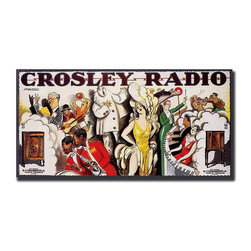 Trademark Global - Crosley Radio Advertising Poster Reproduction - Back when radio was the only form of home entertainment, the variety of programs was endless, as is illustrated on this unique Giclee reprint of a Crosley radio advertising poster from the early 20th century.  The colorful mural style ad showcases everything from boxing to horse racing, from jazz to dramatic readings--you can hear it all on a Crosley radio.  Definitely a conversation starter, this extra large canvas print is museum quality and comes ready to hang.  Perfect for a game or home theater room, this wonderful poster makes a fun decorating accessory. Gallery wrapped Giclee on canvas. Ready to hang. Traditional style. Subject: Vintage. Format: Horizontal. Size: Extra large. Canvas material. 47 in. W x 24 in. H (8 lbs.)Giclee is an advanced printmaking process for creating high quality fine art reproductions. The attainable excellence that Giclee printmaking affords makes the reproduction virtually indistinguishable from the original artwork. The result is wide acceptance of Giclees by galleries, museums and private collectors.