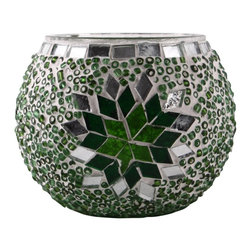 Art-Win Lighting CH11010 Handmade Mosaic Candle Holder, Green - Handmade in Istanbul, Turkey. Hand-crafted item is produced with glass-on-glass technique. Tradition of centuries is now available for you. Fine handmade mosaic lamps that require years of experience and specialized craftsmanship are carefully manufactured by Art-Win Lighting.