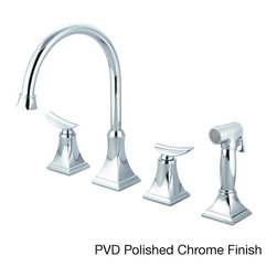 Pioneer - Pioneer Prenza Series 2PR201 Double-handle with Side Spray Kitchen Faucet - Redecorate your kitchen in luxurious style with the Prenza Series kitchen faucet from Pioneer, showcasing a double-handle design in a lever shape. This enticing faucet also highlights a widespread design.
