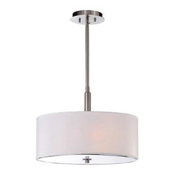 None - 3-light Off-white Shade Satin Nickel Chandelier - An off-white shade diffuses the light of this beautiful chandelier. This lighting features a satin nickel finish with a base made of iron and takes three lights.