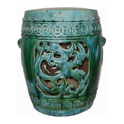 Belle & June - Dragon Coil Garden Stool - This porcelain stool adds an exotic element to your favorite setting,  indoors or out. The tranquil turquoise color and dynamic dragon design complement each other beautifully to bring an Eastern accent to your decor.