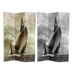 Oriental Furniture - 6 ft. Tall Sailboat Double Sided Room Divider - Nautical photography is a science and an art, and catching this beautiful skiff with her sails full, against such a dramatic sky was quite the feat. Because the image is so striking, we have reproduced it here in black and white as well as a pale sepia tone print. High quality wood and fabric covered room divider. Well constructed, extra durable kiln dried Spruce wood frame panels covered with tough, tear and puncture resistant, stretched poly-cotton blend canvas.