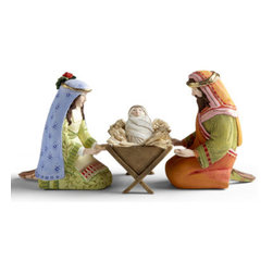 """Grandin Road - Set of Four Holy Family Nativity Figures - Grandin Road - Made from hand-molded stone resin. Sizes range from 2-1/2""""H to 10""""H. Hand-painted with exquisite detailing. Celebrate the true meaning of Christmas with our gorgeous Patience Brewster Nativity Scene. Artist Patience Brewster has created what she feels is true to the story of the first Christmas, with an ever-so-subtle whimsical touch. Baby Jesus can lie in the manger, or be held by Mary or Joseph. This scene is a wonderful rendering of heirloom quality.  . Sizes range from 2-1/2'H to 10'H .  . Magi figurines and animals are sold separately below."""
