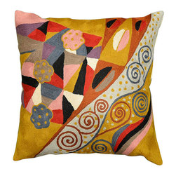 """Modern Wool - Klimt Cushion Cover Signs of Spring Wool Hand Embroidered 18"""" x 18"""" - Klimt Cushion Cover Signs of Spring modern abstract pillow hand embroidered - Seeds, seed pods, tree of life symbols all speak of Gustav Klimt's symbolist paintings. Chaotic colors give it an spirited essence similar to jazz album covers of the 50s (compare Dave Brubeck's 'Take 5' album cover). A 15th century handcraft based on 19th century painting reminiscent of 20th century album covers done by 21st century handcrafters. What could be more perfect? The hand-dyed Kashmir wool embroidery on a cotton back and base makes a durable and easy care cover to update the old or accentuate the new."""