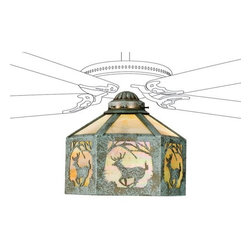 Meyda - Meyda Tiffany Lone Deer Fan Light Shade - A Wildlife Inspired Leaping White Tail Deer Framed In Trees Circles This Branch Accented Flushmount Fixture. The Rustic Fixture Has Iridized Beige Art Glass Framed In Verdi and is Handcrafted In The USA By Meyda Artisans. Fan Not Included. Fan Not Included. Meyda Tiffany was founded when Meyer Cohen was asked by his wife Ida (whose names were combined into the company name Meyda) to build a stained glass window in their kitchen so they wouldn't have to look at the vintage cars in their neighbor's driveway. What began as a hobby evolved into America's leading and oldest manufacturer of custom and decorative lighting. Today Meyda is still a family-run business with the Cohens' son Robert at the helm. Features include Theme: Rustic Lodge Art Glass Animals Country Family: Lone Deer Every Meyda Tiffany item is a unique handcrafted work of art. Natural variations in the wide array of materials that they use to create each Meyda product make every item a masterpiece of its own. Photographs are a general representation of the product. Colors and designs will vary.. Specifications Number Of Bulbs: 1 Bulb Wattage: 100 Bulb Type: Medium Base.