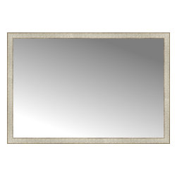 """Posters 2 Prints, LLC - 51"""" x 35"""" Libretto Antique Silver Custom Framed Mirror - 51"""" x 35"""" Custom Framed Mirror made by Posters 2 Prints. Standard glass with unrivaled selection of crafted mirror frames.  Protected with category II safety backing to keep glass fragments together should the mirror be accidentally broken.  Safe arrival guaranteed.  Made in the United States of America"""