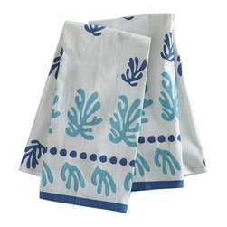 Seascape Hand Towels - Blue - Set of 2 - These hand towels are a colorful tribute to Matisse's celebration of color and life, perfect for a kitchen or bath. 100% machine-washable cotton. Each will have slight imperfections in the screen-printed design, authenticating its originality. Dry clean only.