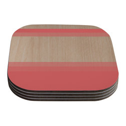 """Kess InHouse - Brittany Guarino """"Art Red"""" Pink Wood Coasters (Set of 4) - Now you can drink in style with this KESS InHouse coaster set. This set of 4 coasters are made from a durable compressed wood material to endure daily use with a printed gloss seal that protects the artwork so you don't have to worry about your drink sweating and ruining the art. Give your guests something to ooo and ahhh over every time they pick up their drink. Perfect for gifts, weddings, showers, birthdays and just around the house, these KESS InHouse coasters will be the talk of any and all cocktail parties you throw."""