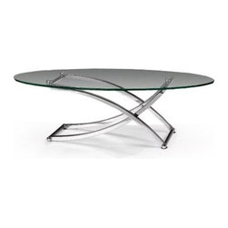 Modern clear glass top Coffee Table Towada - Modern Coffee Table Towada has a simple design formed by transparent oval tempered glass top and chromed stainless steel base.