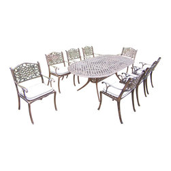 Oakland Living - 9-Pc Aluminum Dining Set - Includes table, eight dining chairs and metal hardware. Handcast. Umbrella hole table top. Fade, chip and crack resistant. Traditional lattice pattern and scroll work. Hardened powder coat. Rust free. Warranty: One year limited. Made from cast aluminum. Antique bronze finish. Minimal assembly required. Table: 84 in. L x 42 in. W x 29 in. H (99 lbs.). Chair: 22.5 in. W x 22 in. D x 35 in. H (23 lbs.)The Oakland Mississippi Collection combines southern style and modern designs giving you a rich addition to any outdoor setting. This dining set is the prefect piece for any outdoor dinner setting. Just the right size for any backyard or patio.