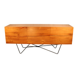 IndoModern - Malibu Teak Cabinet/Dresser - The Cubic Cherry Dining Table is a beautiful slab of wood that will bring the outdoors to life in your home. It's Earth-friendly, with five trees planted for each harvested by IndoModern. Each piece of wood remains in a kiln oven for 4-6 weeks to strengthen and prevent splitting of this durable and modern-styled home dining table with an inspired stainless steel support. Chairs not included.