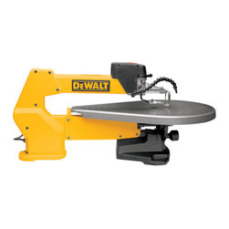 "Dewalt - 20In Heavy Duty Scroll Saw - Double parallel link arm design dramatically reduces vibration and noise, for extremely accurate cuts. Exclusive tool-free blade clamps, On-off switch, electronic variable speed, flexible dust blower and blade-tensioning lever are all located on the front   upper arm. Arm design pivots from the back of the saw to the front and lifts so blade can be easily threaded through the material for inside cuts. Unique arm design keeps the blade perpendicular to the work. Oversized, cast-iron table provides excellent   material support and bevels 45 degrees left and right. Specs: Motor 1.3 amp rating, 120V AC. 400-1,750 cutting strokes per minute. Table size 16"" x 23-3/4"". Weighs 56 lbs. Meets OSHA standards, CSA approved and U.L. Listed.      This item cannot be shipped to APO/FPO addresses.  Please accept our apologies"