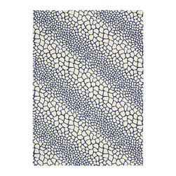 """Barclay Butera Lifestyle - Barclay Butera Lifestyle BBL10 Kaleidoscope KAL02 5'3"""" x 7'5"""" Akira Blue Area Ru - Mod 60's Shagreen is the inspiration behind this bold and modern Kaleidoscope rug. In a wildly appealing two-tone mix of seashell white and ocean-deep Akira blue; this rug sets the stage for a room that is ultra-dramatic. The alternating bands of large and small pebble-shapes create strong diagonals that infuse energy and excitement into any space in your home."""