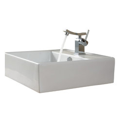 Kraus - Kraus C-KCV-150-14301BN White Square Ceramic Sink and Unicus Basin Faucet - Add a touch of elegance to your bathroom with a ceramic sink combo from Kraus