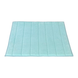 "Large-Sized, Memory Foam Bath Mat in Spa Blue - Spa Blue Ultra Luxurious Memory Foam Bath Mat with non skid latex backing, size 21""x34"". Part of our Hotel Collection, this Large-Sized (21'' w x 34'' l), Memory Foam Bath Mat is not only luxurious but also practical. Ultra soft memory foam on a slip-resistant base allows you to make a comfortable, safe transition from the bath to your floor. Additionally, this mat is very absorbent and dries up to 50% faster than other bath mats. Here in Spa Blue, our Hotel Collection Memory Foam Bath Mats come in a variety of fashionable colors and a smaller (17'' w x 24'' l) size. Machine wash in warm water, line dry, reshape as needed"