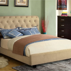 Furniture of America - Furniture of America Yani Tufted Modern Velvet Queen Platform Bed - Change the look of your bedroom with this attractive queen-size platform bed. Featuring a high-profile tufted headboard and luxurious velvet material, this modern bed combines contemporary style with classic elements from decades past.