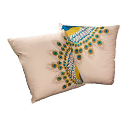 "Best Selling Home Decor - 18"" Embroidered Peacock Tail Pillows (Set of 2) - Give your home an update with this attractive pillow set. These pillows feature a linen blend cover for soft elegance. Set includes: Two pillows; Pattern: Emroidered Peacock Tail; Color options: Green, Dark Green, Red, Blue; Cover closure: Hidden zipper closure; Edging: Knife edge; Pillow shape: Square; Dimensions: 18 inches wide x 18 inches long; Cover: Linen Blend; Fill: 100-percent Polyester; Care instructions: Spot clean with a damp cloth."