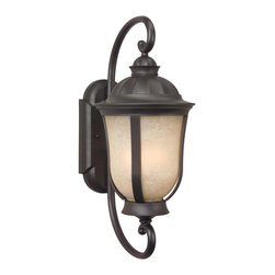 Exteriors - Exteriors Frances II Traditional Outdoor Wall Sconce - Medium X-29-0116Z - Achieve dramatic results when you decorate  with this medium-sized, two-light Craftmade Frances II Traditional Outdoor Wall Sconce. Notice the beautiful and shapely tea-stained scavo glass shade encased in the frame in a rich and warm oiled bronze finish that's supported by a gently scrolled arm. It's light fixtures like these that effortlessly enhance the look of any home's exterior.