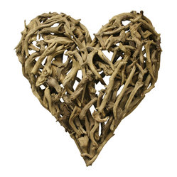 "Kathy Kuo Home - ""Driftwood Heart Sculpture 16"""" x 16"""""" - Wear your heart on your sleeve — and wall — with this lovable sculpture made of reclaimed driftwood pieces. It's a one-of-a-kind statement perfect for gifting or keeping for yourself."