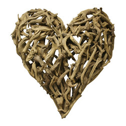 "Kathy Kuo Home - Driftwood Heart Sculpture 16"" x 16"" - Wear your heart on your sleeve — and wall — with this lovable sculpture made of reclaimed driftwood pieces. It's a one-of-a-kind statement perfect for gifting or keeping for yourself."