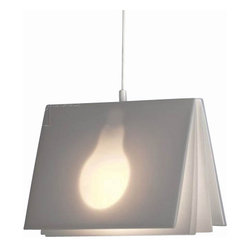 "Tecnolumen - Tecnolumen Book Light Pendant Light - The Book Light Pendant Light is designed by Vincenz Warnke and made by Tecnolumen. This orginelle lamp catches attention by the design in the form of a book in the middle of the light source is fixed. The light shines discreetly through the semi-transparent plastic ""book."" This pendant lamp book light is supplied with a lamp, a matching table lamp is also available. The BOOK LIGHT Hanging Lamp is a lamp of a special kind The designer Vincenz Warnke designed here a luminaire that is something for avid readers not only. Each lamp is consecutively numbered and bears this logo: TECNOLUMEN         Product Details: The Book Light Pendant Light is designed by  Vincenz Warnke and made by Tecnolumen. This orginelle lamp catches attention by the design in the form of a book in the middle of the light source is fixed. The light shines discreetly through the semi-transparent plastic ""book."" This pendant lamp book light is supplied with a lamp, a matching table lamp is also available. The BOOK LIGHT Hanging Lamp is a lamp of a special kind The designer Vincenz Warnke designed here a luminaire that is something for avid readers not only. Each lamp is consecutively numbered and bears this logo: TECNOLUMEN Details:                         Manufacturer:            Tecnolumen                            Designer:            Vincenz Warnke                            Made in:            Germany                            Dimensions:                        Width: 11.42"" (29 cm) x Depth:8.07"" (20.5 cm)                                          Light bulb:                        1 x E27 Max 40W Clear                                          Material:            Plastic"