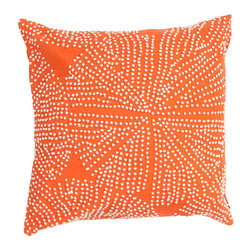 "Jaipur Rugs - Orange/Ivory color cotton encasa09 poly fill pillow 18""X18"" - En Casa is the design collection of Cuban born, Queens, NY raised painter and surface designer, Luli Sanchez. This collection is based off of her painterly works of art that capture an organic and moody yet optimistic spirit. Her geometric paintings were truly inspiring for this pillow collection."