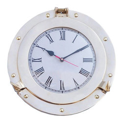 "Handcrafted Model Ships - Brass Deluxe Class Porthole Clock 12"" - Nautical Decor - The Brass Deluxe Class Porthole Clock 8 inch is a classy and quality accent piece to add to any nautical themed room. This charming nautical port hole clock is both functional and stylish. Sporting a beautiful brass finish, this wall hanging clock will accent your nautical home decor perfectly. In addition, this Brass Deluxe Class porthole clock opens just as if it were on a ship of the time. Batteries not included. Dimensions: 8 inch Long x 2 inch Wide x 8 inch High Note: Mounting hardware not included with purchase Porthole is handcrafted by our master artisans. -Decorative yet is a fully functional porthole clock Polished brass finish will enhance any existing nautical decor theme Great nautical wall decor - mounting bracket affixed to back Authentic 19th century porthole replica - port hole opens after twisting dog ears"