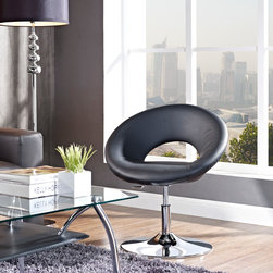 MODERN BLACK LEATHER SWIVEL LOUNGE CHAIR JETTER -