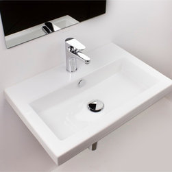 Tecla - Rectangular White Ceramic Self Rimming, Wall Mounted or Vessel Bathroom Sink - Rectangular white ceramic self rimming, wall mounted, or vessel sink. Washbasin comes with overflow and no hole, one hole or three hole options. Made in Italy by Tecla. Made out of white ceramic. Contemporary design. Includes overflow. ADA compliant. Standard drain size of 1.25 inches. Because the sink has multiple installations, the back side is not glazed.