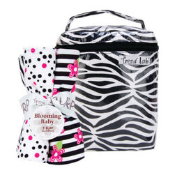 "Trend Lab - Bouquet Set - Black & White Zebra - Bottle Bag & Burp Cloth - Trend Lab's Black and White Zebra Bottle Bag and Burp Cloth Set is the perfect gift for any mom to be! Set includes a black and white zebra print insulated bottle bag and four burp cloths each with fun, modern printed cotton on the front and terry on the back. Zippered closure on the bottle bag allows temperature control keeping bottles and snacks hot or cold. Durable laminate fabric easily wipes clean. Bottle bag can hold 2 standard bottles. Burp cloth patterns include: one black and white zebra print, one black and paradise pink confetti dot print on a white background, one black and white stripe print with paradise pink and electric lime floral accents and one that has solid paradise pink rosette velour. Bottle bag measures 5"" x 7"" x 3"" and each burp cloth measures 13"" x 10""."