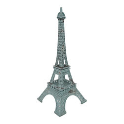 Zeckos - Verdigiris Finish Metal Eiffel Tower Statue - This decorative Eiffel Tower statue adds a wonderful accent to the home or office of the worldly traveler, and perfect for rooms with Parisian themed decor. Made from metal with a lovely weathered and verdigris finish, this 15 inch high, 6 inch long, 6 inch wide (38 x 15 x 15 cm) cast statue looks amazing on tabletops, shelves, desks and is lovely as a centerpiece This highly detailed sculpture is great as a gift a Paris loving friend is sure to admire