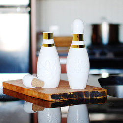 imm Living - imm Living Lucky Strike Oil and Vinegar Containers, Set of 2 - It's a split. Crafted from white porcelain, these tabletop containers are shaped just like classic bowling pins, complete with gold stripes around the neck. Use them to store and pour oil and vinegar to accompany a basket of bread or a fresh salad, then plug them up with the cork stoppers. Set of two containersPorcelain with cork stoppersShips in 1-2 weeks