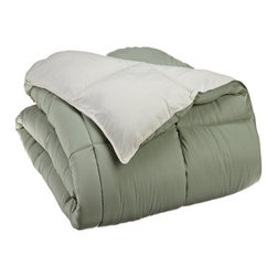 Down Alternative Ivory and Sage Full/Queen Reversible Comforter - Down Alternative Ivory and Sage Full/Queen Reversible Comforter
