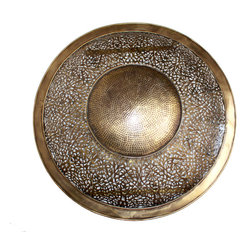 Badia Design Inc. - Round Brass Wall Sconce - Hand Carved