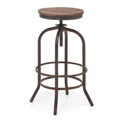 Elm Wood Urban Bar Stool - Expertly fashioned of elm wood and antique metal, the industrial, urban bar stool design is based on the same mechanisms of drafters' chairs in the early 1900s, which allow an adjustable seat height for anyone. Functional and classy, this urban barstool will help create an industrial designer feel to your home while providing the materials and history of classic design.