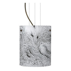 Besa Lighting - Besa Lighting 1KG-4006MG-LED Tamburo 1 Light LED Cable-Hung Pendant - Tamburo is a classic open-ended cylinder of handcrafted glass, a shape that will stand the test of time. Our Marble Grigio glass is a bright white cased glass, with inner opal and a glossy finish. The white color is accented by flowing marbleized black lines, and nestled between the inner opal and outer clear layers. When lit the glass is vitalizing as well as stylish, that adds appeal to any environment. This blown glass is handcrafted by a skilled artisan, utilizing century-old techniques passed down from generation to generation. Each piece of this decor has its own artistic nature that can be individually appreciated. The cable pendant fixture is equipped with three (3) 10' silver aircraft cables and 10' AWM cordset, and a low profile flat monopoint canopy.Features: