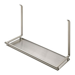 """Hafele America Co. - Multi-Purpose Shelf - This sleek Multi-purpose Shelf is one of the many interchangeable components that can be attached to the Backsplash Railing System 17 3/8"""" x 6"""" x 10 7/8""""Material: Steel plated; Finnish: nickel matte/stainless steel"""